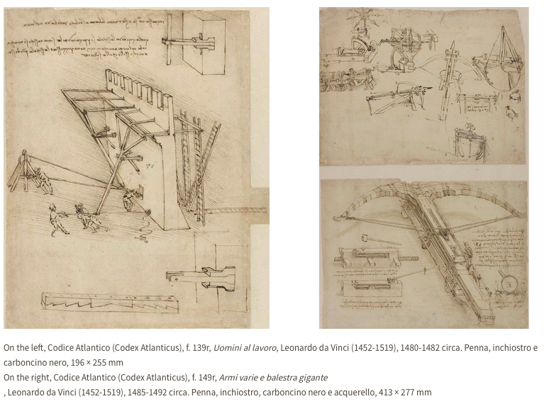 Leonardo vivió y trabajó en Milán desde 1482 hasta 1499 y el Museo Ambrosiano tiene una gran colección de manuscritos y entre ellos el Codex Atlanticus, el verdadero tesoro de este museo.