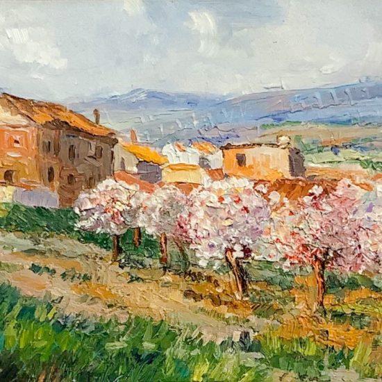 Dominio cromatico en una sinfonia de colores en la obra de arte Almond Trees in Mallorca de Victoria Pardo Artista Plastica.