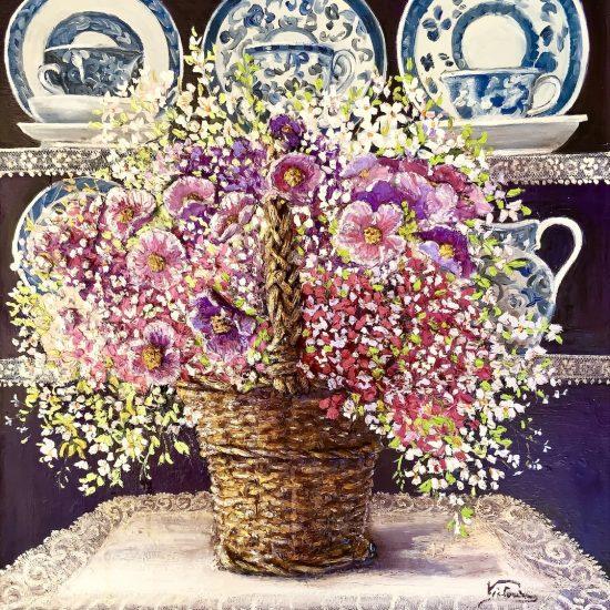 Azul Rosa y Malva pintura al Óleo de Victoria Pardo Artista Plástica