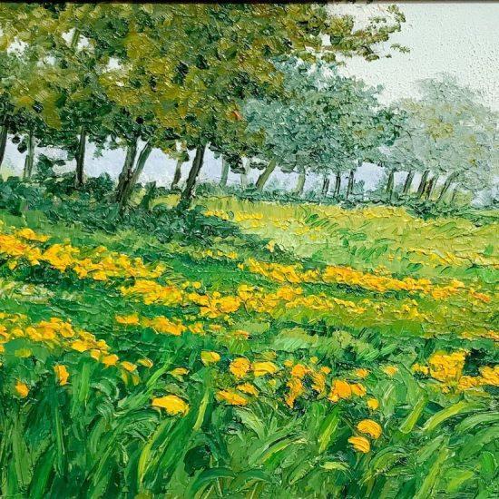Melodia de flores y colores y amor por la naturaleza que se reflejan en Debajo de los Arboles, cuadro de Victoria Pardo Artista Plastica.