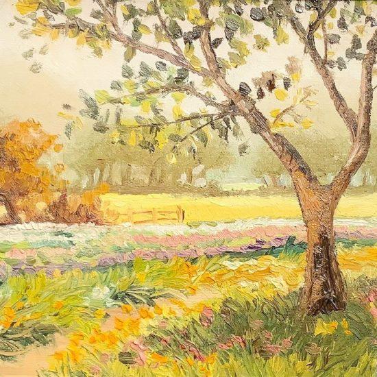 Los cambios de tonalidades de esta pintura de la colección Abril de Victoria Pardo Artista Plástica nos recuerdan el Final del Verano.