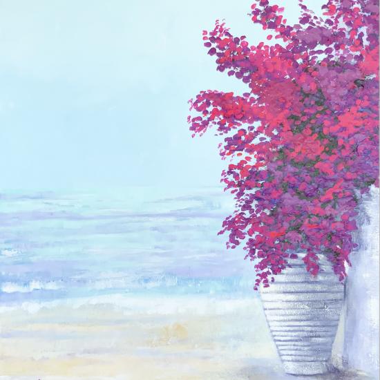 Azules y Malvas de la Coleccion Azul de Victoria Pardo Artista Plastica Joy of the Mediterranean es una pintura colorida y que alegra los ambientes.