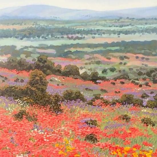 Las Amapolas de Cerdeña, pintoresco paisaje de la Colección Victoria de Victoria Pardo Artista Plástica