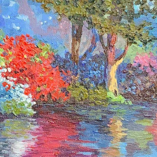 Fusion de colores, cambios de tonalidades y movimientos del agua se reflejan en Paisaje en Azul de la coleccion Abril de Victoria Pardo Artista Plastica.