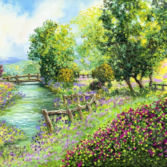 Paseo junto al río - Cuadro de la Colección Abril by Victoria Pardo Artista Plástica