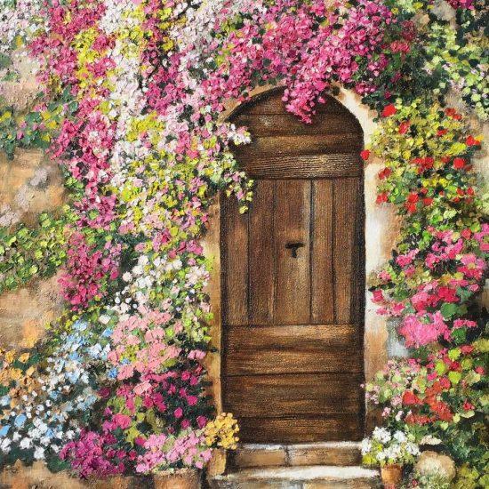 Puerta con Buganvillas es una obra de la colección Abril de la Artista Plástica Victoria Pardo . Esta obra destaca por su técnica y sus clásicos colores Malva