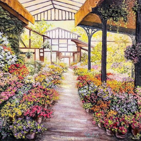 Jardín de Invierno en Andalucía - Cuadro pintado al Óleo con relieve por Victoria Pardo Artista Plástica
