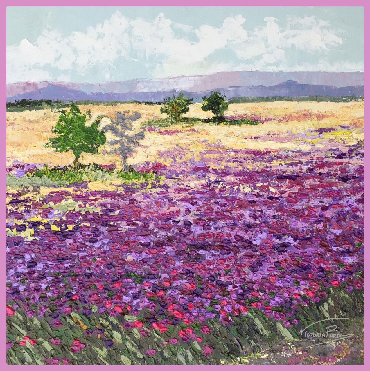 cuadro flores fucsia marco rosa