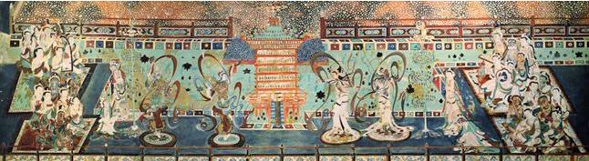 Las 'Cuevas de los Mil Bhudas 'también conocidas como las Cuevas de Mogao, son un magnífico tesoro del arte budista. Están en el desierto cerca de Dunhuang, en el noroeste de China. A finales del siglo IV, llegaban allí los comerciantes, peregrinos y otros viajeros y se detenían en la ciudad del oasis para aprovisionarse, rezar y dar gracias por su supervivencia. La historia de los registros que se conservan hablan que las primeras cuevas fueron talladas por 366 monjes. por Victoria Pardo Lujo en Seda